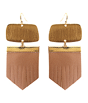 SCRATCH METAL AND LEATHER DROP EARRING