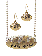 SEALIFE THEME MESSAGE PENDANT NECKLACE SET- GO WITH THE FLOW