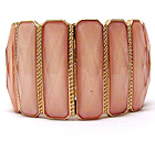 TEXTERED METAL MULTI RECTANGLE PATTERN GLASS STONE STRETCH BRACELET