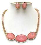 TRIPLE FACET OVAL STONE AND TUBE CHAIN NECKLACE EARRING SET