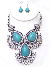 MULTI CRYSTAL AND TEARDROP TURQUOISE STATEMENT NECKLACE SET