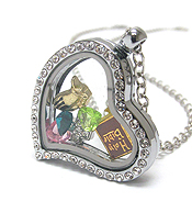 ORIGAMI STYLE FLOATING CHARM HEART LOCKET PENDANT NECKLACE - CHRISTIAN BIBLE