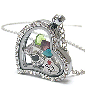 ORIGAMI STYLE FLOATING CHARM HEART LOCKET PENDANT NECKLACE - DOG LOVER