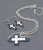 HAMMERED PATINA SIDE CROSS PENDANT NECKLACE EARRING SET