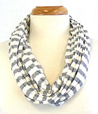 COTTON AND POLYESTER BLEND STRIPE PRINT INFINITY SCARF