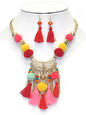 POM POM PARADE MULTI TASSEL DROP STATEMENT NECKLACE SET