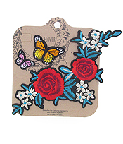 EMBROIDERED AND IRON ON ADHESIVE PATCH SET - FLOWER AND BUTTERFLY
