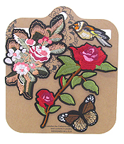 EMBROIDERED AND IRON ON ADHESIVE PATCH SET - FLOWER AND BIRD
