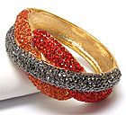 CRYSTAL PAVE TRIPLE METAL BAND DECO HINGE BANGLE