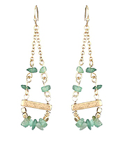 SEMI PRECIOUS STONE AND METAL BAR DROP EARRING
