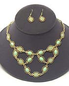 FACET STONE AND METAL FILIGREE STATEMENT NECKLACE EARRING SET