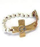 HAMMERED CROSS AND LEATHER AND PEARL BUTTON BRACELET