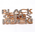 CRYSTAL DECO BLACK GIRLS ROCK MESSAGE DUAL STRETCH RING