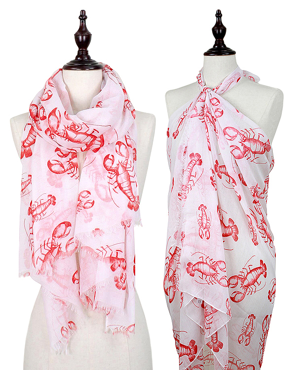 LOBSTER PRINT OBLONG SCARF - 100% POLYESTER