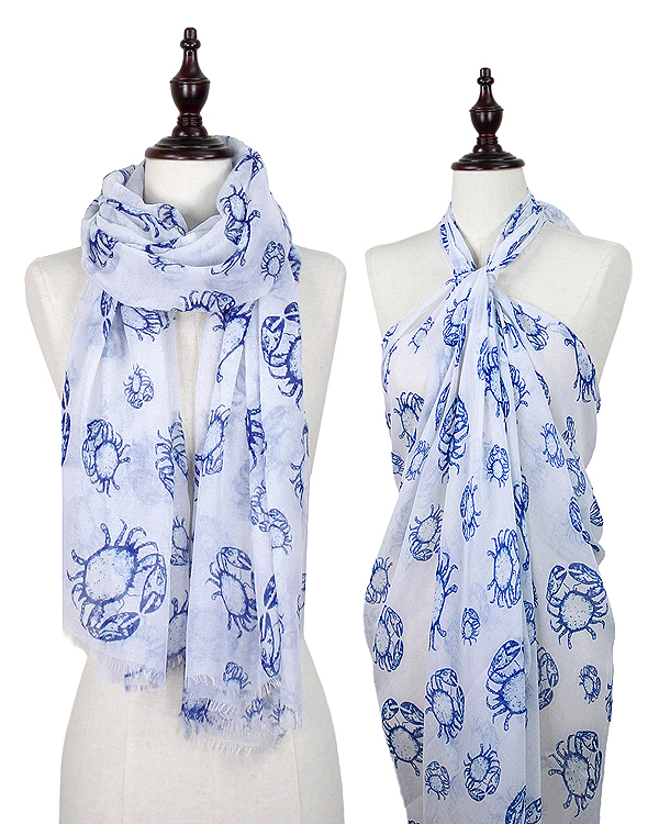 CRAB PRINT OBLONG SCARF - 100% POLYESTER