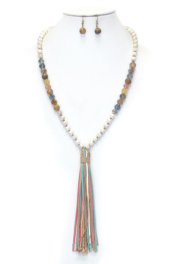 SEMI PRECIOUS STONE BEAD AND LEATHER TASSEL LONG NECKLAC SET