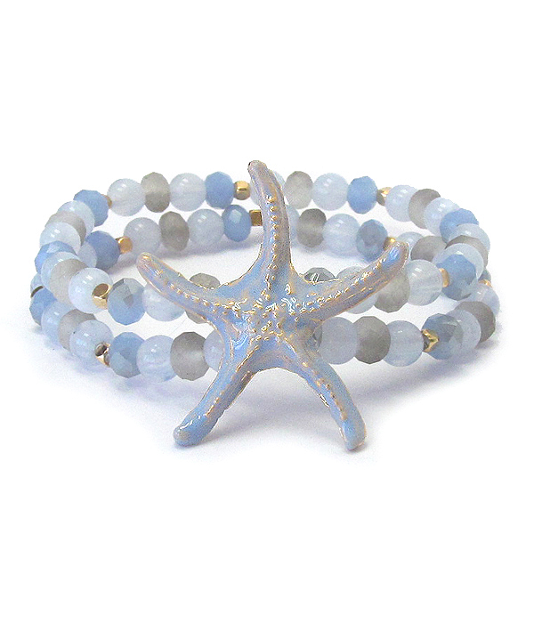 STARFISH AND GLASS BEAD MIX DOUBLE STRETCH BRACELET