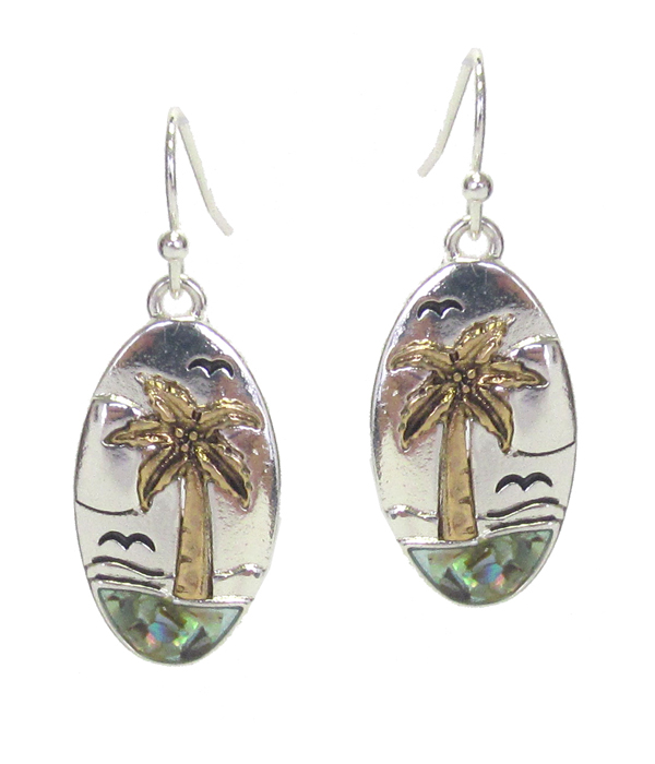 SEALIFE THEME ABALONE OVAL EARRING - PALM TREE
