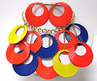 ROUND METAL CUT OUT FASHION COLORFUL DISK CHAIN NECKLACE EARRING SET