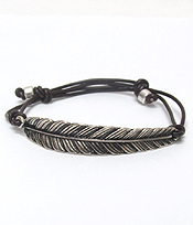 VINTAGE METAL FEATHER PULL AND TIE BRACELET