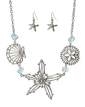 METAL FILIGREE STARFISH AND SHELL MIX NECKLACE SET