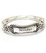 UTENSIL SPOON  TEXTURE STRETCH BRACELET - MOTHER