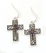 CROSS WITH ABALONE STONE FISH HOOK EARRINGS