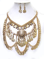 BOHEMIAN STYLE MULTI METALS NECKLACE SET