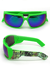 NEON CURVED MIRROR GOGGLE STYLE SUNGLASSES - UV PROTECTION