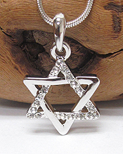 WHITEGOLD PLATING STAR OF DAVID PENDANT NECKLACE