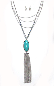 SOUTHERN STYLE OVAL STONE AND METAL TASSEL DROP LAYERED LONG NECKLACE SET
