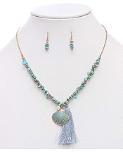 SEMI PRECIOUS CHIPSTONE AND TASSEL DROP NECKLACE SET - SHELL