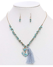 SEMI PRECIOUS CHIPSTONE AND TASSEL DROP NECKLACE SET - ANCHOR