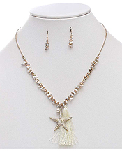 SEMI PRECIOUS CHIPSTONE AND TASSEL DROP NECKLACE SET - STARFISH