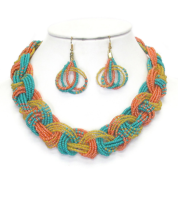 MULTI SEED BEAD KNOT NECKLACE SET