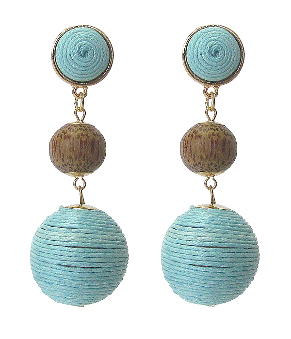 THREAD AND WOOD BALL DROP EARRING
