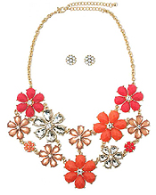 MULTI CRYSTAL AND FACET ACRYLIC STONE FLOWER LINK PARTY BIB NECKLACE EARRING SET