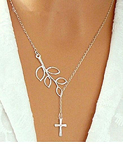ETSY STYLE CROSS AND LEAF NECKLACE