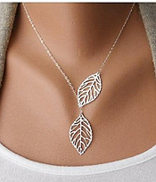 ETSY STYLE DUAL LEAF NECKLACE