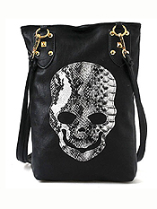 PUNK BLACK SKULL FACE DESIGNER PU LEATHER CROSS BODY HANDBAG