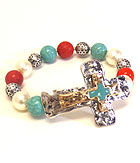 VINTAGE METAL AND RELIGIOUS INSPIRATION CROSS STRETCH BRACELET