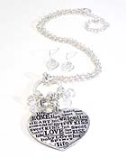 LOVE THEME HEART PENDANT NECKLACE EARRING SET