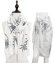 PALM TREE PRINT OBLONG SCARF - 30% COTTON 70% VISCOSE