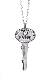 INSPIRATIONAL WORD STAMPED VINTAGE KEY PENDANT NECKLACE - FAITH
