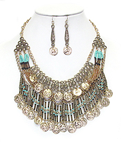 BOHEMIAN STYLE SEED BEAD AND MULTI COIN BIB NECKLACE SET