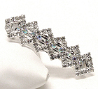 RHINESTONE AND CRYSTAL DECO SQUARE HAIR PIN