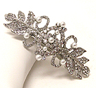 CRYSTAL AND PEARL DECO LEAF HAIR PIN