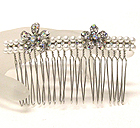 CRYSTAL FLOWER AND PEARL DECO HAIR COMB
