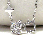 WHITE GOLD PLATING AND CRYSTAL DECO APPLE NECKLACE