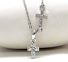 WHITE GOLD PLATING AND CRYSTAL DECO DUAL CROSS NECKLACE